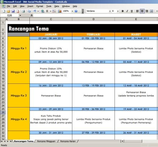 Template ini terbagi menjadi tiga bagian utama: Rancangan Tema